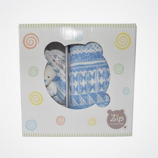 Kit Presente Manta Trabalhada Azul BH - 3 peças